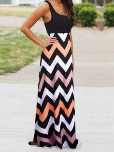 Black Contrast Multicolor Chevron Sleeveless Maxi Dress