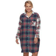 47cd4d00d5f8 Plus Size SONOMA Goods for Life™ Pajamas  Button Down Flannel Sleep Shirt Women s  Sleep