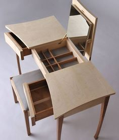 Ben Rawlinson, Princess Sarah Dressing Table from Celebration of Craftsmanship and Design exhibition featured in past issue of Wood… Diy Pallet Furniture, Art Deco Furniture, Bespoke Furniture, Woodworking Furniture, Table Furniture, Cool Furniture, Bedroom Furniture, Furniture Design, Furniture Makers