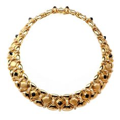 Onyx Diamond Gold Necklace | From a unique collection of vintage link necklaces at https://www.1stdibs.com/jewelry/necklaces/link-necklaces/