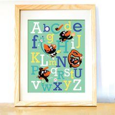 "Baby Gift:: Oriole Baseball Mascot Alphabet (11"" W x 14"" H) Unframed. $25.00, via Etsy."