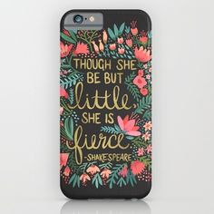 iPhone & iPod Case featuring Little & Fierce On Charcoal by Cat Coquillette