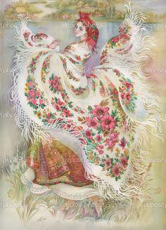 Молодой женщины в традиционных костюмах - Стоковое изображение: 13280597