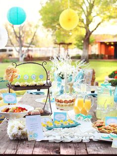 I know this is for a brunch, but it would be super cute for a baby shower. Love the colors! Also, the HGTV website has more pictures/ideas on this party.
