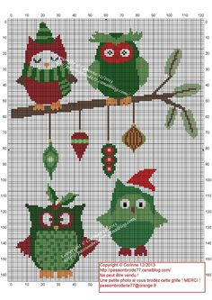 noël - christmas - chouette - point de croix - cross stitch - Blog : http://broderiemimie44.canalblog.com/