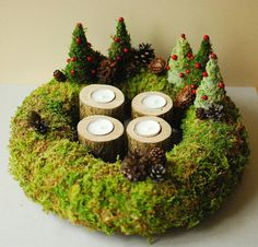 Check out this item in my Etsy shop https://www.etsy.com/listing/487735167/advent-wreath-wooden-candle-holder-moss