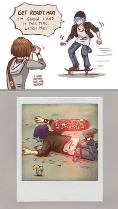 Life is Strange - Max and Chloe - skating fail by Maarika.deviantart.com on @DeviantArt