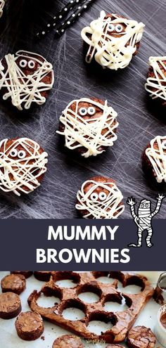 Need an adorable and easy Halloween food recipe? Try these Mummy Brownies! The perfect food for Halloween parties and playdates! treats brownies Easy Mummy Brownies for Halloween Halloween Brownies, Halloween Treats To Make, Dessert Halloween, Halloween Food For Party, Preschool Halloween, Halloween Food Recipes, Halloween Crafts, Halloween Food For Adults, Halloween Pizza