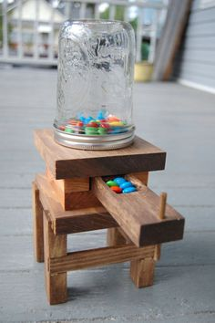 Handmade Wooden Mason Jar Candy Dispenser by BeardedBoardcrafters, $25.00