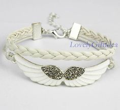 Hey, I found this really awesome Etsy listing at https://www.etsy.com/listing/189650501/shiny-diamond-angel-wings-bracelet-white