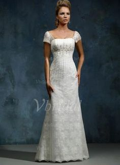 Wedding Dresses - $238.99 - A-Line/Princess Square Neckline Chapel Train Satin Lace Wedding Dress With Beading (00205000228)