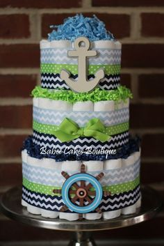 3 Tier Nautical Diaper Cake, Blue Navy Green Chevron Boy Baby Shower, Nautical, Sailboat, Anchor, Nautical Baby Shower Centerpiece - http://www.babyshower-decorations.com/3-tier-nautical-diaper-cake-blue-navy-green-chevron-boy-baby-shower-nautical-sailboat-anchor-nautical-baby-shower-centerpiece.html
