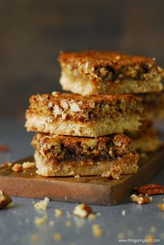 Pecan pie bars have a shortbread crust with a pecan pie like topping! This recipe works great for the holidays or even for bake sales.