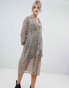 8c7a0ffb755eaf Pull&Bear sheer shirt dress in leopard print