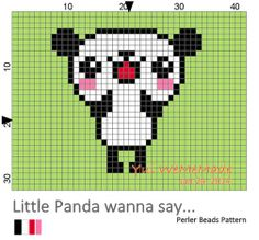 [Free Pattern] Perler Beads Creation No.1 : Little Panda wanna say...by WeMeMade (twitter, FB & instagram)