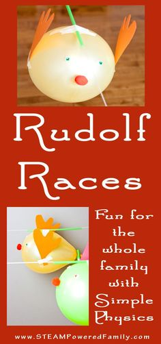 Rudolf balloon race is a fantastic, fun activity for kids of all ages. Simple physics and Christmas STEAM activities for the holidays. via /steampoweredfam/