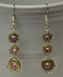 Ammo Earrings-Lt Rose and Filigree 3 Tier Dangle$29 - Rustic Passion Jewelry & Crafts