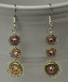 Ammo Earrings-Lt Rose and Filigree 3 Tier Dangle$29 - Nana's Nic Nacs - Custom Jewelry & Gifts