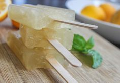Great Spin on an Arnold Palmer - Green Tea, Basil and Meyer Lemon Popsicle Recipe.