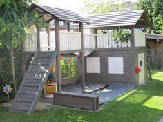 Ready to Build a Playhouse on Stilts? Backyard Fort, Kids Backyard Playground, Backyard Playset, Garden Playhouse, Build A Playhouse, Playhouse Outdoor, Backyard For Kids, Backyard Projects, Outdoor Projects