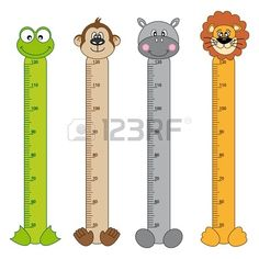 Bumper Children Meter Wall Animals Stickers Royalty Free Cliparts, Vectors, And Stock Illustration. Daycare Themes, Bookmark Printing, Height Chart, Doctor Gifts, Charts For Kids, Baby Room Design, Paper Crafts Origami, School Decorations, Felt Patterns