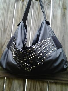 Black Studded Faux Leather Hobo Bag/ Rocker Style on Etsy, $49.00