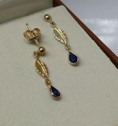 Vintage Ohrhänger - Ohrringe Silber 925 vergoldet Kristall blau SO152 - ein Designerstück von Atelier-Regina bei DaWanda