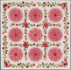 "only 21"" x 21"" - Winner for Best Miniature Quilt...Entered by Kumiko Frydl (Houston, TX) Made by Kumiko Frydl  Quilted by Kumiko Frydl, Started in 2008, Finished in 2008  Design basis: Inspired by Kathy Nakajima's ""Sunshine Rose Garden"""