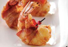 Crevettes épicées au bacon #recette #noel #bouchees