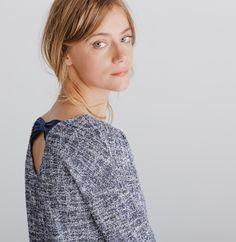 8fd90eb7090 Blouse femme tweed fantaisie noeud. Blouse femme tweed fantaisie noeud - T-shirts  femme - Phildar