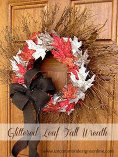 Glittered Fall Leaf Wreath with Uncommon Designs #spon