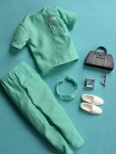 Ken Doll Green Scrubs Outfit with Accessories Hospital Clothing