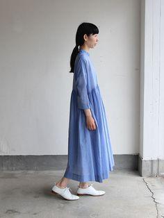 Gather bottom big dress~yarn dyed fine lawn(blue) 2