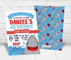 Need to get your hands on invitations quick? Print these invitations yourself right from home or your favorite print shop! Simply fill in the box above with your child's name and party details. You will receive your invite in your email within two. Pool Party Invitations, Digital Invitations, Printable Invitations, Birthday Invitations, Birthday Party Themes, Birthday Cards, Shark Pool, Shark Party, Luau Party