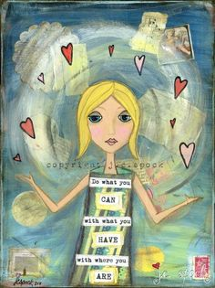 Mixed Media Art Inventive Girl 8x10 print  Whimsical by JCSpock, $17.50