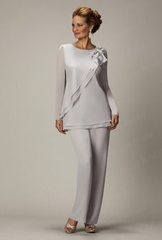 Free Shipping Chic Hottest Style Custom Made Chiffon Plus Size Long Sleeve Mother Of The Bride Pant Suits With Bow MP010 US $168.00