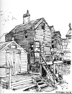 """""""Whitstable"""" by Benji Davies Whitstable Kent, Architecture Illustrations, City Scapes, Travel Drawing, Children Books, Urban Sketching, Vintage Illustrations, Children's Book Illustration, Colouring Pages"""