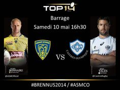 Barrage Samedi 10 Mai à 16h30 Clermont VS Castres  #BRENNUS2014 #ASMCO Rugby Championship, Clermont, Top 14, Mai, Baseball Cards, Sports, Hs Sports, Sport