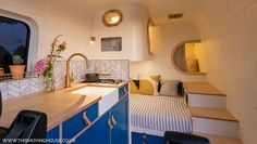 Check out these ten different campervan bed ideas to make your next camper conversion layout work perfectly and get some inspiration for your build. Galley Style Kitchen, Kitchen Units, Camper Interior, Best Interior, Van Interior, Interior Ideas, Interior Design, Bed Storage, Storage Spaces