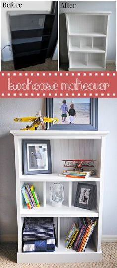 No need to throw away or get rid of old, out-dated bookshelf when you can give it a complete makeover! The before and after speaks for themselves. Save your money with these simple tricks! www.ehow.com/...