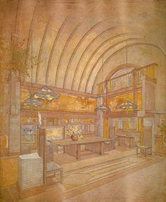 This Frank Lloyd Wright piece use a combination of perspective drawing and hatching with pastel to communicate the solemness of the scene. Frank Lloyd Wright Style, Frank Lloyd Wright Buildings, Organic Architecture, Historical Architecture, Architecture Details, Wisconsin, Building Painting, Art Nouveau, Interior Rendering