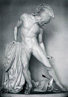 Achilles Wounded by the Heel (c.1850) by Innocenzo Fraccaroli, plaster, École des Beaux-Arts, Paris, France