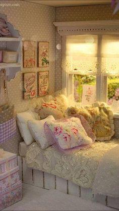 Shabby Chic Sunrise. Teen girl bedroom, feminine, florals, french theme
