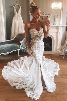 25474d681d Sweetheart Chapel Train Mermaid Wedding Dress with Appliques