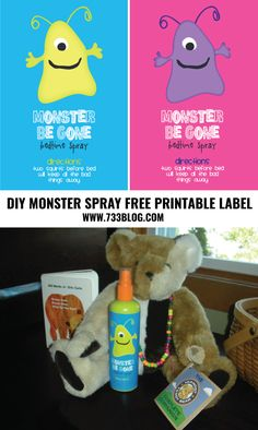 DIY Monster Spray with Free Printable Label - helps with kids that are fearful of monsters and/or the dark
