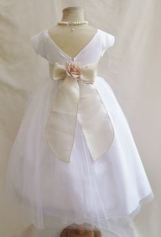 661029b5f1 Flower Girl Dresses - WHITE with Champagne Satin Dress - Wedding Easter  Bridesmaid - For Children Toddler Kids Teen Girls by NollaCollection on Etsy