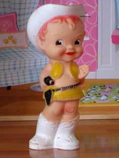 RARE Cute Cowgirl  Vintage Rubber Squeaker Doll