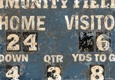 Vintage Football Scoreboard Sports Art Canvas / Print in blue by Aaron Christensen.  Perfect for football players, fans and future allstars