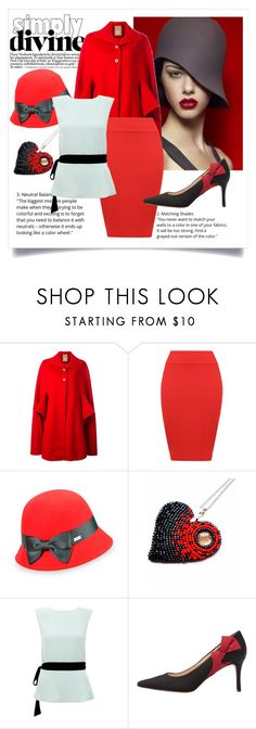 """""""Color of the Day 11/22: Red"""" by abbyandelle ❤ liked on Polyvore featuring Pascal Millet, WearAll, Betmar, Raoul, Nine West, AbbyAndElle and upstairsfashion"""