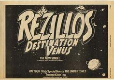 The Rezillos - Destination Venus promo, 1978 Proto Punk, Punk Poster, 70s Punk, New Flyer, Power Pop, The New Wave, Rock Posters, Special Guest, Rock Music